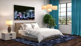 framförd inre blixt för omgivande sovrum 3d illustration 3d Royaltyfria Bilder
