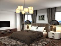 framförd inre blixt för omgivande sovrum 3d illustration 3d Fotografering för Bildbyråer