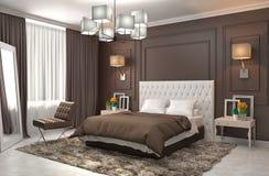 framförd inre blixt för omgivande sovrum 3d illustration 3d Royaltyfri Fotografi