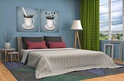 framförd inre blixt för omgivande sovrum 3d illustration 3d Arkivfoton