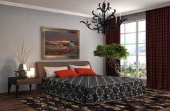 framförd inre blixt för omgivande sovrum 3d illustration 3d Arkivbild