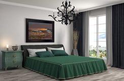 framförd inre blixt för omgivande sovrum 3d illustration 3d Royaltyfri Bild