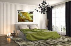 framförd inre blixt för omgivande sovrum 3d illustration 3d Royaltyfri Foto