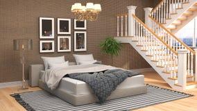 framförd inre blixt för omgivande sovrum 3d illustration 3d vektor illustrationer