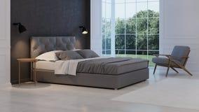 framförd inre blixt för omgivande sovrum 3d klassiskt modernt Royaltyfri Fotografi