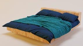 Framförd säng på vita Backgorund fotografering för bildbyråer