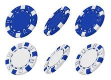 framförde blåa chiper för kasino 3d white Arkivfoton
