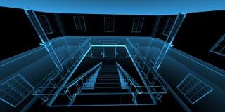 framförde den blåa insidan för huset 3d röntgenstrålen stock illustrationer