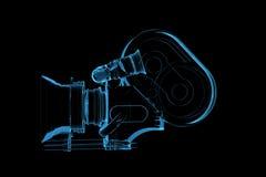 framförde den blåa professionelln för kameran 3d den videopd röntgenstrålen Fotografering för Bildbyråer
