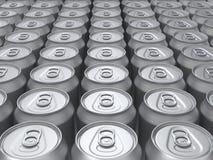 framförde blanka cans för bakgrund övre sikt Arkivbild