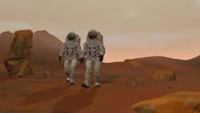 framf?rande 3d Kolonin f?rd?rvar p? Två astronaut som bär utrymmedräkten som går på yttersidan av, fördärvar vektor illustrationer