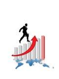 framgång för graf för affärsaffärsmanföretag Fotografering för Bildbyråer