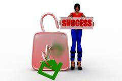 framgång för kvinnor 3d Royaltyfri Fotografi