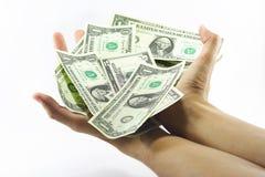 framgång för payday för dollarsedelhandpengar Royaltyfri Fotografi