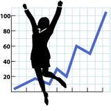 framgång för person för tillväxt för affärsdiagram Royaltyfri Bild