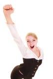 Framgång i arbete Affärskvinna som firar befordran royaltyfri bild