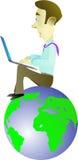 Framgång i internetaffär med en bärbar dator Royaltyfri Bild