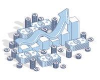 Framgång och inkomst som upp växer begreppet, wi för stång för statistik för tillväxtdiagram stock illustrationer