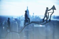 Framgång- och teamworkbegrepp arkivfoto