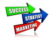 Framgång, strategi och marknadsföring i pilar Arkivbild