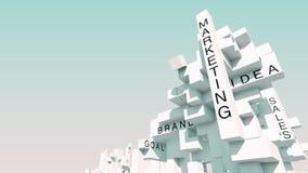 Framgång tillväxt, teamwork, idéer, teknologi, finans, inspiration, analyserar, affären, strategi som planerar ordet som animeras royaltyfri illustrationer