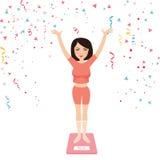 Framgångkvinnaflickan bantar lycklig lös vikt firar slankt mäta kontrollera royaltyfri illustrationer