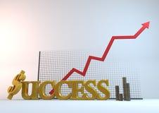 FramgångMynt-diagram Arkivfoto
