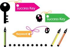 Framgångtangent och nyckelord vektor illustrationer