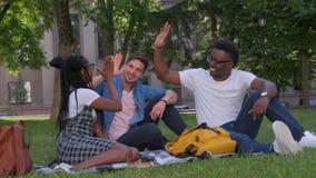Framg?ng, kamratskap och internationalbegrepp - gruppen av lyckliga le v?nner som g?r h?jdpunkt fem parkerar in stock video