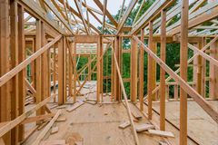 Framing beam of new house under construction home framing. Framing beam of new house under construction home beam construction, reconstruction, housing stock photography