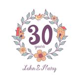 Family day. Vector illustration. Flower frame. Anniversary date 30 years. The framing of the branches. On the branch birdhouse, bird. Symbol of home and family Stock Photos