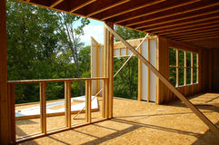 Framing construction. Framing a new house in a rural area royalty free stock images
