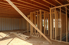 Framing construction. Framing a new house in a rural area stock photo
