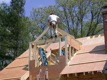 Framing a dormer. Dormer construction stock images