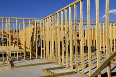Construction of an apartment complex. Framing of the ground level of an apartment complex Royalty Free Stock Photos