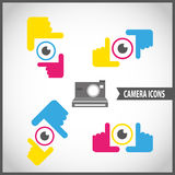 Framing hands camera icon set. Abstract background Royalty Free Stock Images
