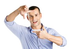 Framing hands gesture of male Stock Photos