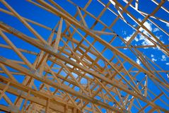 Framing of home roof. New home framing in Colorado Royalty Free Stock Photo