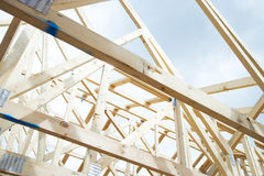 Framing of House. This image shows the framing of an unfinished house. Horizontally framed shot royalty free stock image