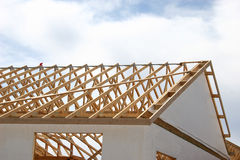 Framing a House. The trusses of a newly framed house Royalty Free Stock Photography
