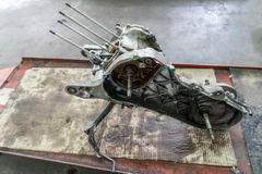 Framing of a motorcycle in repair of the damage Stock Images