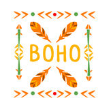 Framing Pattern With Feathers And Arrows, Native Indian Culture Inspired Boho Ethnic Style Print Stock Image