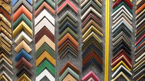 Framing picture frames for paintings. Picture frames have traditionally been made of wood, which is still the most common and most prestigious material, although royalty free stock photography