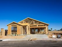 Wood Framing On New Home Construction. Framing And Plywood On New Home Construction In New Development stock photo