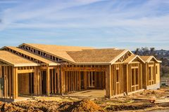 Framing Of New Home Construction. Framing & Roof Sheathing Phase Of Brand New Home Construction stock image