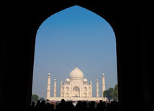 Framing of Taj Mahal Mausoleum with clear blue sky, Agra, India. Stock Images