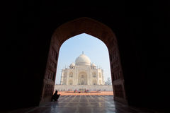 Framing of Taj Mahal Mausoleum with clear blue sky, Agra, India. Royalty Free Stock Image