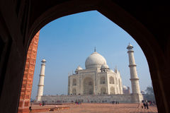 Framing of Taj Mahal Mausoleum with clear blue sky, Agra, India Stock Photos
