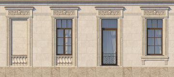 Framing of windows in classic style on the stone . 3d rendering. Framing of windows in classic style on the stone with balcony. 3d rendering Royalty Free Stock Image