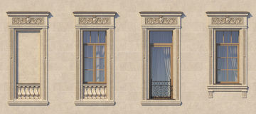 Framing of windows in classic style on the stone. 3d rendering. Framing of windows in classic style on the stone with balcony. 3d rendering Royalty Free Stock Photo